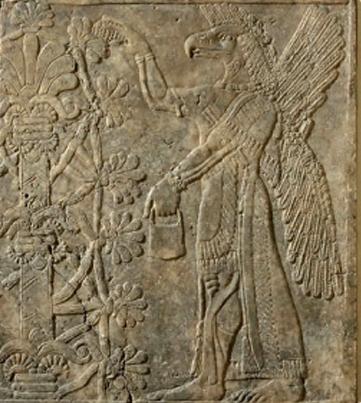 Assyrie un génie ailé avec arbre de vie Louvre.jpg