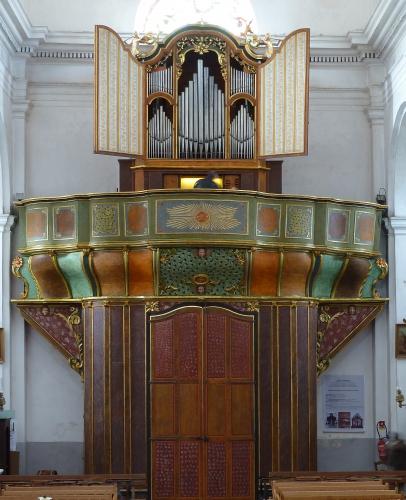 Corbara l'orgue Saladini  vers 1819, agrandi par Agati Tronci en1890, restauration Philippe Hartmann, relevage Alain Faye et Alain Sals 2012.jpg