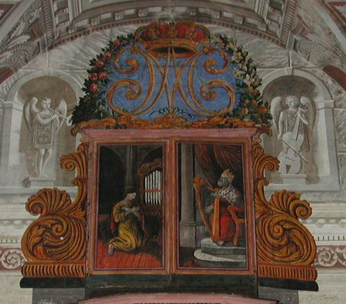 Piedicroce orgue Spinola 1619 volets repeints XIX°Ste Cécile et le Roi David .jpg
