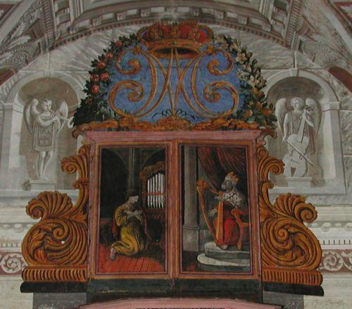 Piedicroce orgue Spinola 1619 volets repeints XIX°Ste Cécile et le Roi David .jpg